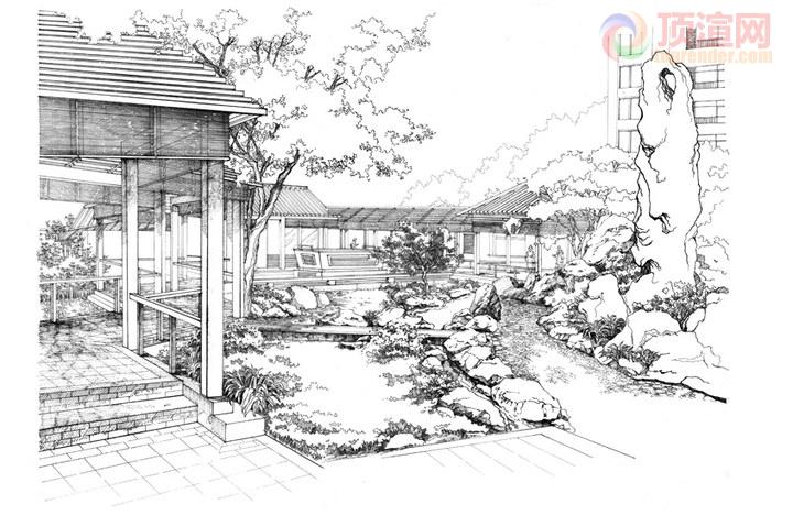 中式园林设计手绘